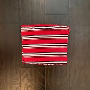 Red White and Black Striped Cropped Tube Top